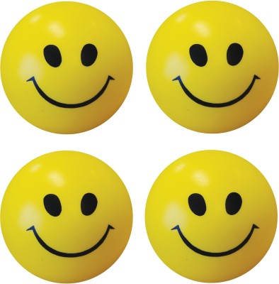 Bgroovy Smiley Face Squeeze Stress Ball   Set of 4   3 inch Yellow Bgroovy Soft Toys