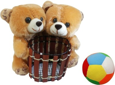 Saugat Traders Couple Teddy Pen Stand With Soft Ball   6.3 Inch Multicolor Saugat Traders Soft Toys