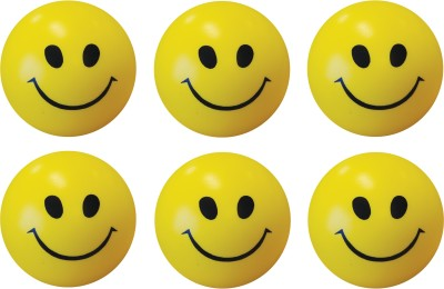 Bgroovy Smiley Face Squeeze Stress Ball   Set of 6   3 inch Yellow Bgroovy Soft Toys