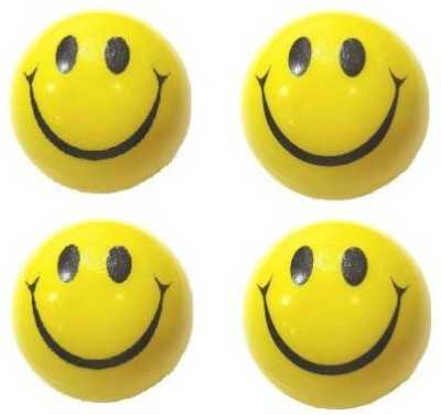 Mplus Smiley Face Squeeze Stress Ball   Set Of 4   3 inch Yellow, Black Mplus Soft Toys