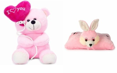 Deals India Deals India I Love You Balloon Heart Teddy Pink 30 cm and Folding Bunny Pillow  38 cm  combo   20 cm Multicolor Deals India Soft Toys