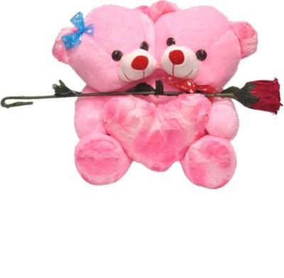 kashish trading company KTC Pink Teddy Bear Soft Toy With Rose   14 inch Pink kashish trading company Soft Toys