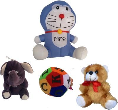 Galaxy World Doraemon+Baby Elephant+ABCD Ball+Teddy   26 cm Multicolour Galaxy World Soft Toys