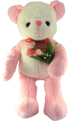 Tickles Sweet Teddy Standing With Rose   45 cm Pink Tickles Soft Toys