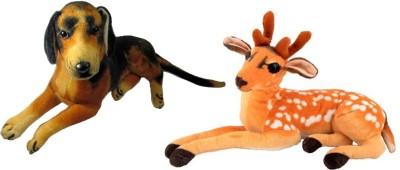 Alexus Deer And Sitting Dog   32 cm Multicolor Alexus Soft Toys