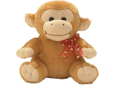 Ultra Sitting Monkey with Red Bow Soft Toy   11 inch Brown Ultra Soft Toys