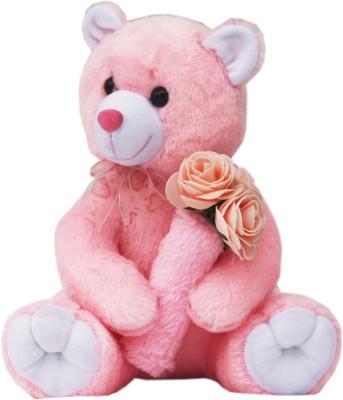 AMARDEEP Valentine Teddy With Roses   30 cm Pink AMARDEEP Soft Toys