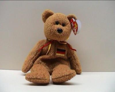 TY Beanie Babies 1 X Germania The Bear   10 inch Brown TY Beanie Babies Soft Toys