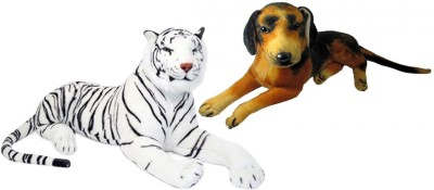 Alexus White Tiger And Sitting Dog   32 cm Multicolor Alexus Soft Toys