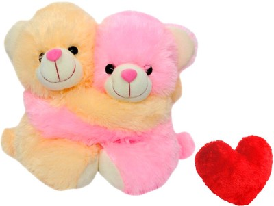 Saugat Traders Teddy Couple with Heart   8 Inch Pink, Yellow Saugat Traders Soft Toys