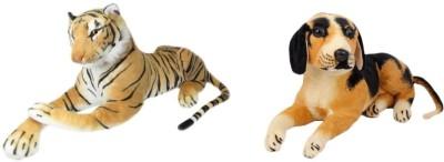 Deals India Tiger and Black Dog   10 cm Brown, Black Deals India Soft Toys