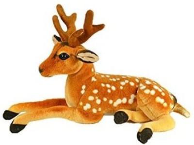 Swastikunj Cute and fluffy Sitting Deer Soft Toy 32 cm    10 cm Brown Swastikunj Soft Toys