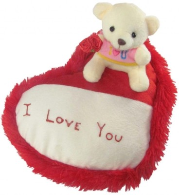 Tickles Teddy On Heart   20 cm Red Tickles Soft Toys