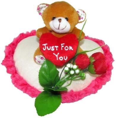 Tickles Teddy On A Heart   22 cm White Tickles Soft Toys