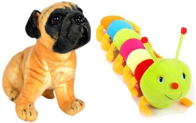 MGPLifestyle Pug Dog  32 Cm  And Colourful Caterpillar  55 Cm Combo   9 cm Multicolor MGPLifestyle Soft Toys