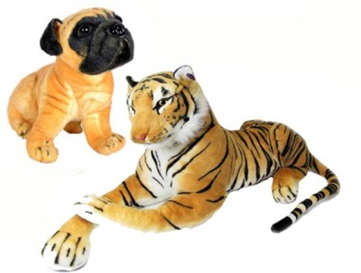 Ewi Beautiful soft touch Tiger   Dog Combo  pack of 2    26 cm Multicolors Ewi Soft Toys