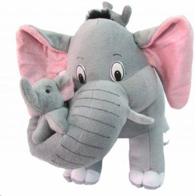 Tickles Mother Elephant with 2 Babies   41 cm Grey Tickles Soft Toys