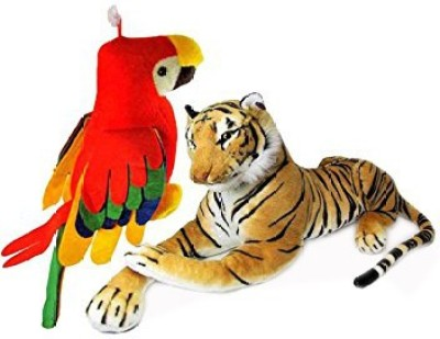 MGPLifestyle Tiger 32 Cm  And Musical Parrot  30 Cm Combo   9 cm Multicolor MGPLifestyle Soft Toys