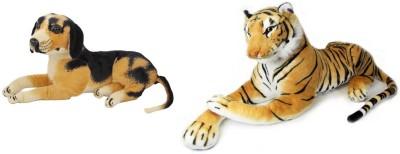 MGPLifestyle Multicolor Combo of Stuffed Sitting Dog   Tiger   10 cm Multicolor MGPLifestyle Soft Toys