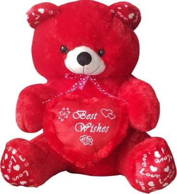 GRJ India 10 Inches Teddy Bear With Heart   10 inch Red GRJ India Soft Toys