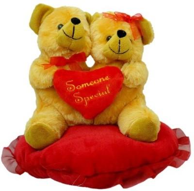 Prachi Teddy Love Pair With Sitting Heart   20 cm Brown Prachi Soft Toys