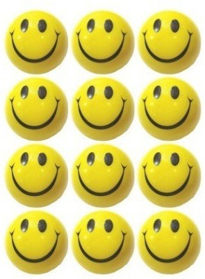MK Smiley Face Stress Reliever Ball   3 inch Yellow MK Soft Toys