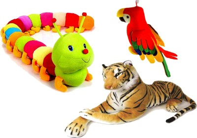 Ewi Tiger, Musical Parrot   Colorful Caterpiller Soft Combo Of 3   57 cm Multicolor Ewi Soft Toys