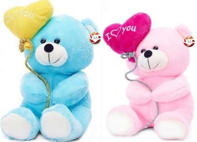 MGPLifestyle   Premium Valentine Combo of I Love You Pink Ballon Heart Teddy   Blue Ballon Heart Teddy  20 CM    18 cm Multicolor MGPLifestyle Soft To