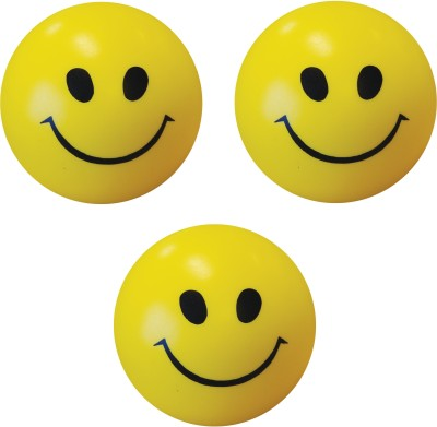 Bgroovy Smiley Face Squeeze Stress Ball   Set of 3   3 inch Yellow Bgroovy Soft Toys