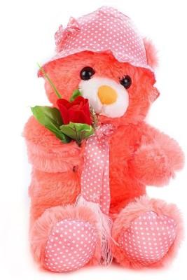 Tickles Glamarous Cap Teddy With Rose   45 cm Orange Tickles Soft Toys