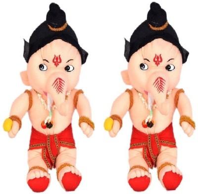 VRV Skin Colour Soft Lord Ganesha set of 2   25 cm Cream VRV Soft Toys