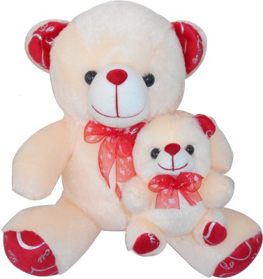 Saugat Traders Mother Child Teddy   33 cm Beige, Red Saugat Traders Soft Toys