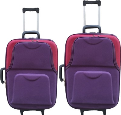 United Mescos Purple Maroon Check in Luggage   24 inch Purple