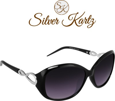 Silver Kartz Wayfarer, Rectangular, Wrap-around Sunglasses(Black, Violet) at flipkart