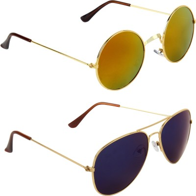 Zyaden Round, Aviator Sunglasses(Multicolor) at flipkart