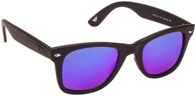 Vincent Chase Vincent Chase VC 5147 Matte Black Blue Reflector Mirror C14 Wayfarer Sunglasses Wayfarer Sunglasses(Blue)