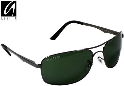 Aislin Rectangular, Wrap-around Sunglasses(Green)