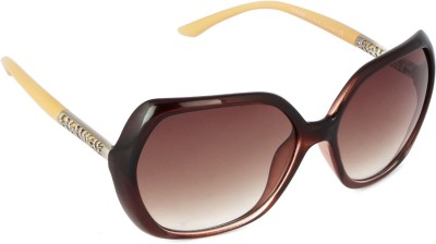Concepts Rectangular Sunglasses(Brown) at flipkart