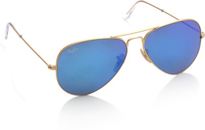 Ray-Ban Aviator Sunglasses(Blue) at flipkart