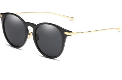 Chemistry Round Sunglasses(Black) at flipkart