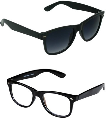 Amour-Propre Wayfarer Sunglasses(Black, Clear)