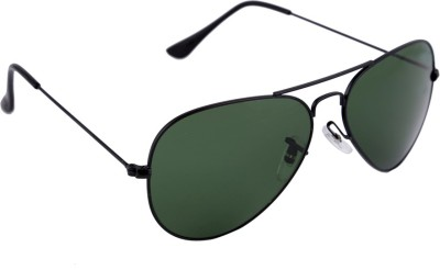 Gansta Gansta NXT-MH-1001 Classic Black with greenish Polarised lens aviator sunglass Aviator Sunglasses(Green) at flipkart