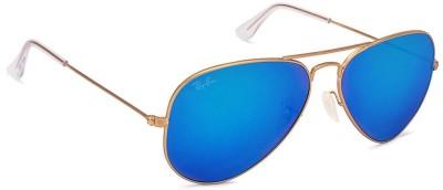 Ray-Ban Aviator Sunglasses(Blue) at flipkart