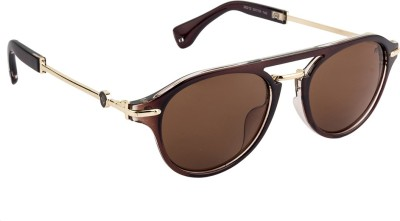 Farenheit Oval Sunglasses(Brown) at flipkart