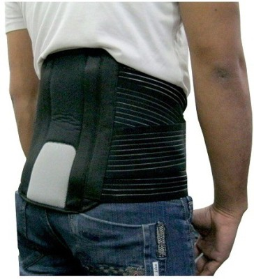 Mvon Lumbo Sacral Belt Double Strep Back Support (L, Black)