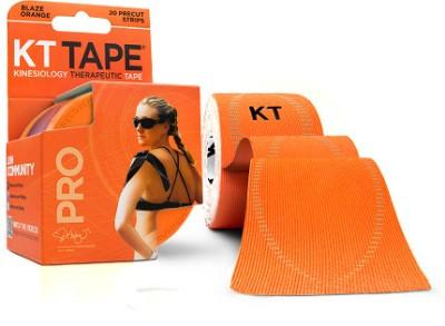 KT TAPE Pro Pre-Cut 20 Strip Synthetic Blaze Foot Support (Free Size, Orange)