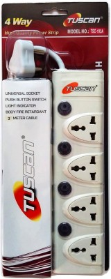 Tuscan Extension Cord - 3 Meter Cable 4 Socket Surge Protector(White)