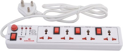 Anchor Spike Guard 4 way with Individual Switch 4 Socket Surge Protector(White)