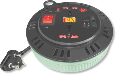 MX 15 Amperes 2 universal Sockets Non Flammable Extension Box with 3 meters Electrical power cable, Fuse and Mov 2 Socket Extension Boards Multicolor