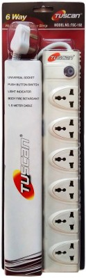 Tuscan Extension Cord - 1.5 Meter Cable 6 Socket Surge Protector(White)